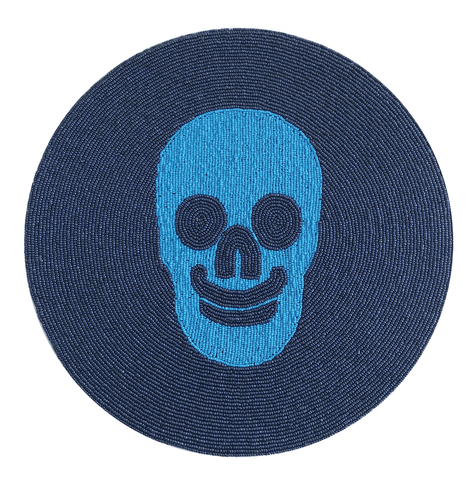 Skull Beaded Placemat - Blue