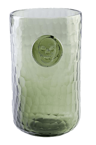 Bonehead Skull Gray Water Glass