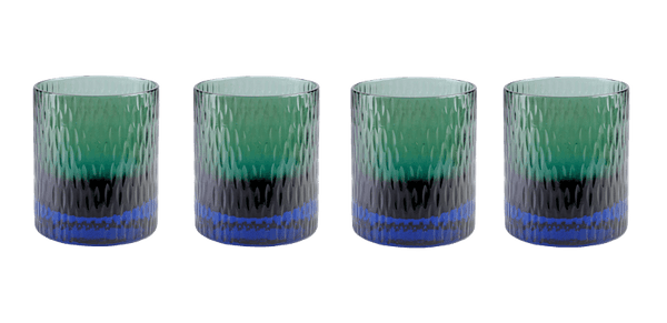 Bottoms Up Glass Marine & Green - Set of 4