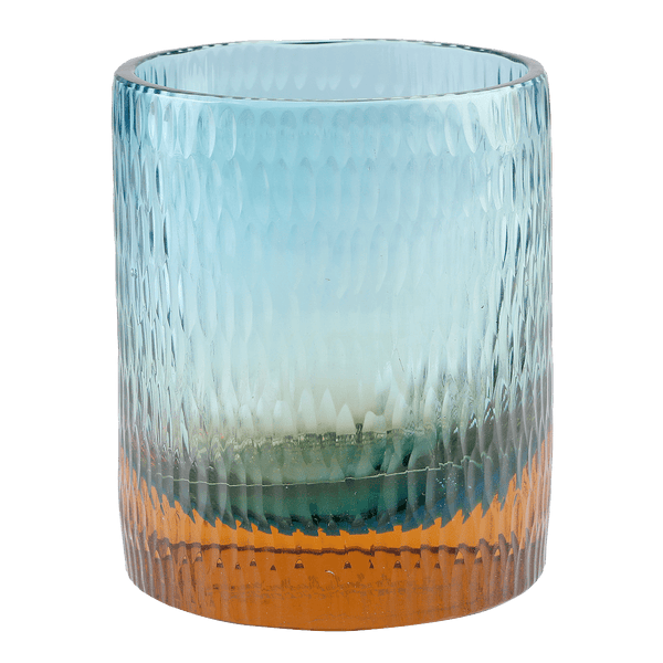 Bottoms Up Glass Turquoise/Melon