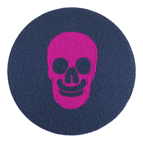 Skull Beaded Placemat - Fuchsia
