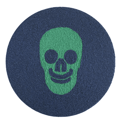 Skull Beaded Placemat - Green