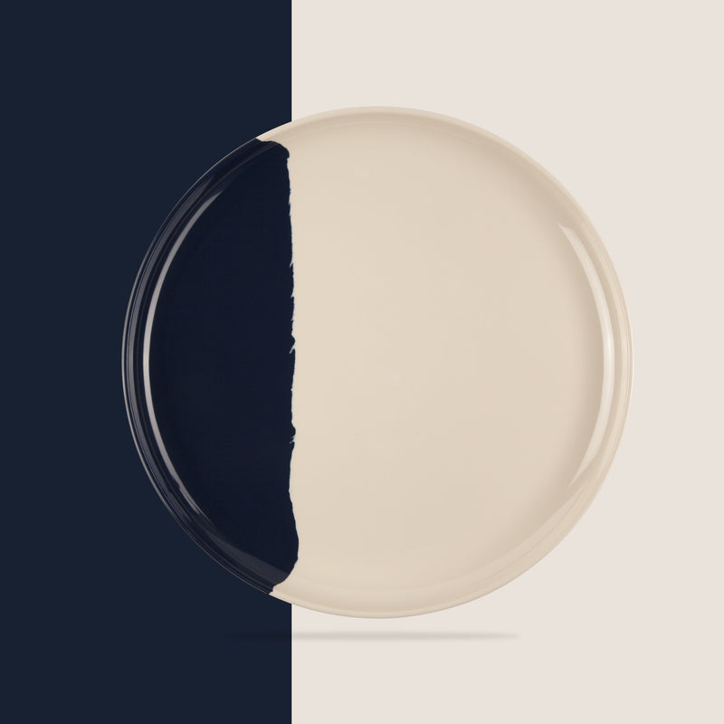 Ivory and Navy Dinner Plate - Set of 4
