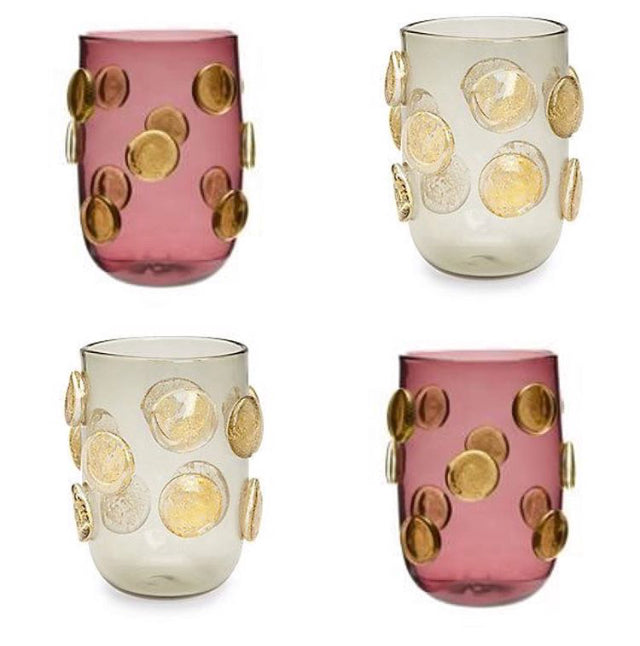Gold Polka Dots Drinking Glasses - Amethyst - Set of 4