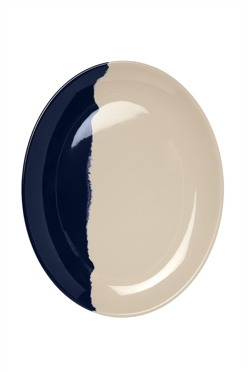 Ivory and Blue Oval Platter