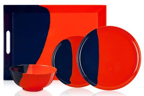 1/2 & 1/2 Melamine Picnic Set (Orange/Navy) set of 12
