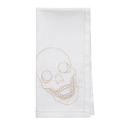 Ivory Skull Embroidered Cloth Napkin