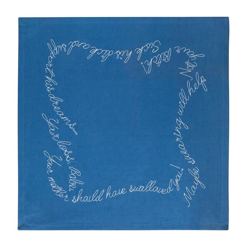 Shut your Mouth Embroidered Cloth Napkins - Navy Blue