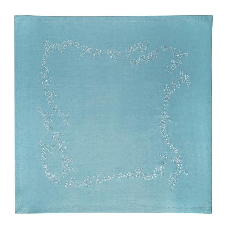 Shut your Mouth Embroidered Cloth Napkins - Light Blue
