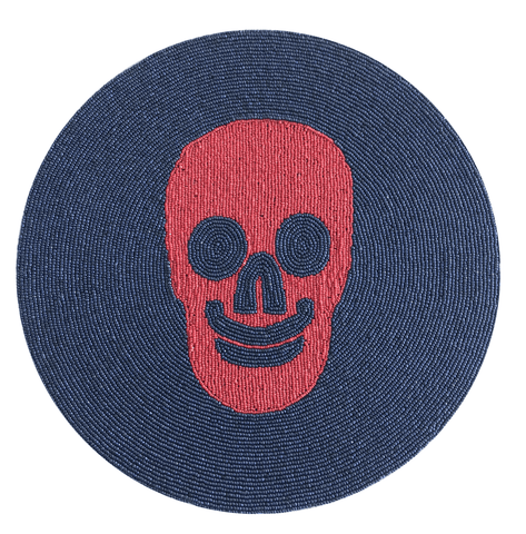 Skull Beaded Placemat - Orange