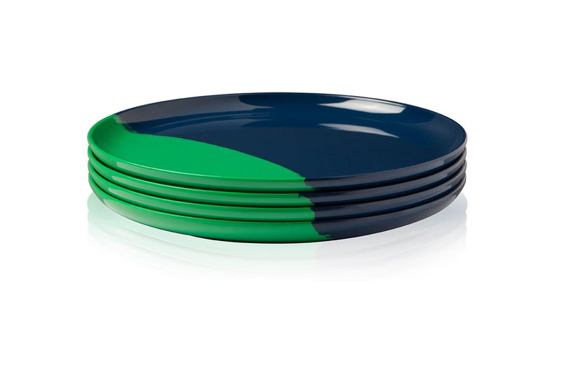 Green and Navy Dinner Plate - Set of 4