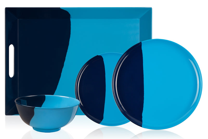 1/2 & 1/2 Melamine Picnic Set (Light Blue/ Navy) Set of 12