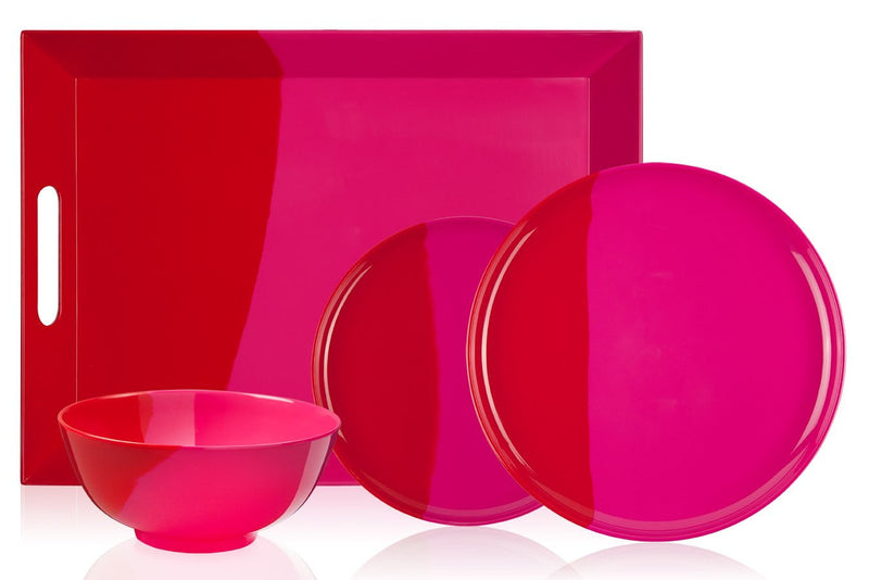 Fuchsia and Red Side Plate - Set of 4