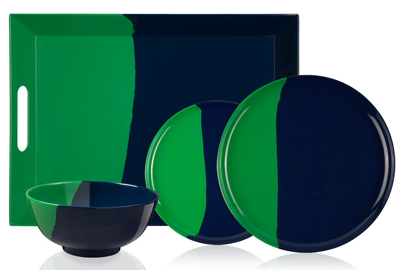 1/2 & 1/2 Melamine Picnic Set (Green /Navy) Set of 12