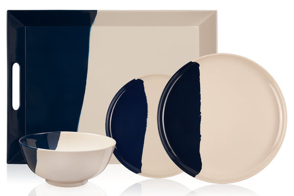 1/2 & 1/2 Melamine Picnic Set (Ivory/Navy) Set of 12