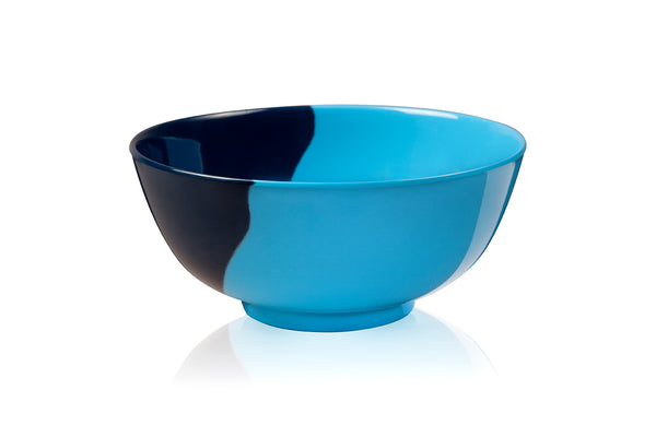 1/2 & 1/2 Melamine Bowl (Light Blue/Navy) Set of 4. Exclusive Design By Thomas Fuchs Creative