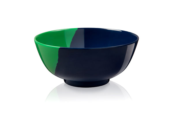 1/2 & 1/2 Melamine Bowl (Green/Navy) Set of 4. Exclusive Design By Thomas Fuchs Creative