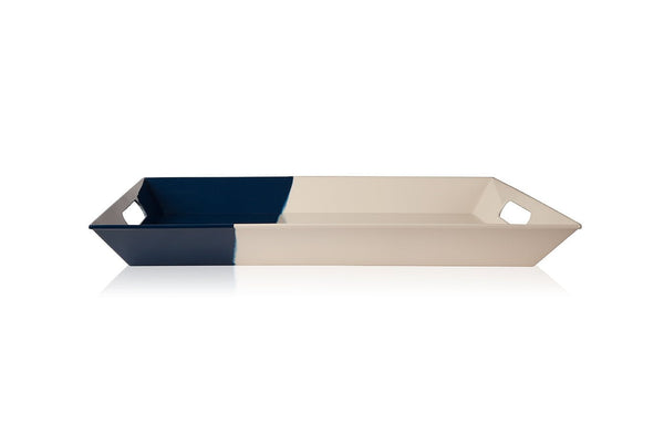 Ivory and Navy Serving Tray