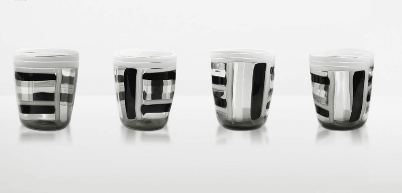 Black and White Striped Glass