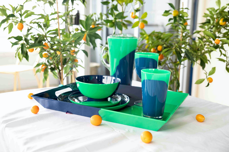 1/2 & 1/2 Melamine Side Plate (Green/Navy) Set of 4. Exclusive Design By Thomas Fuchs Creative