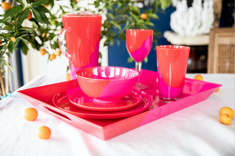 1/2 & 1/2 Melamine Dinner Plate (Fuchsia/Red) Set of 4. Exclusive Design By Thomas Fuchs Creative