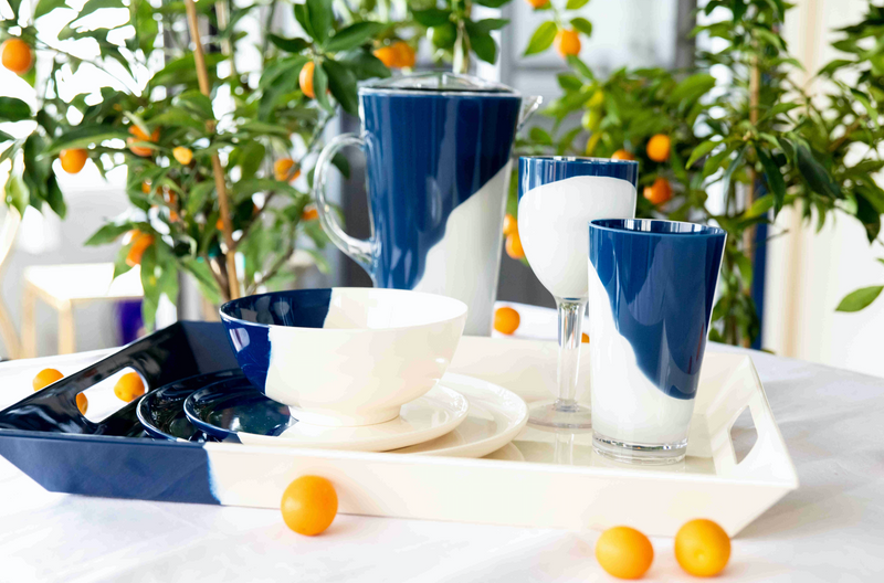 1/2 & 1/2 Ivory And Navy Melamine Salad Serving 5 piece Set