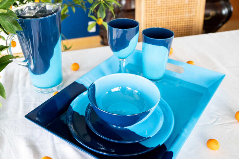 1/2 & 1/2 Melamine Serving Tray (Light Blue/Navy) Exclusive Design By Thomas Fuchs Creative