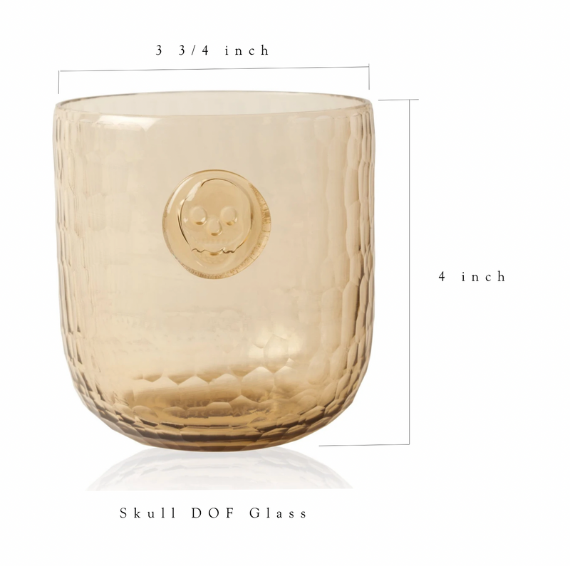 Skull Stamp DOF Drinking Glasses -  Wood color - Set of 4 glasses