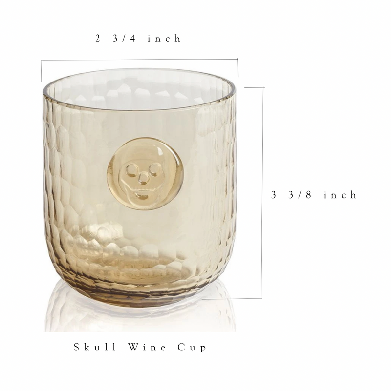 Skull Stamp Wine Glass - Wood color - Set of 4 glasses