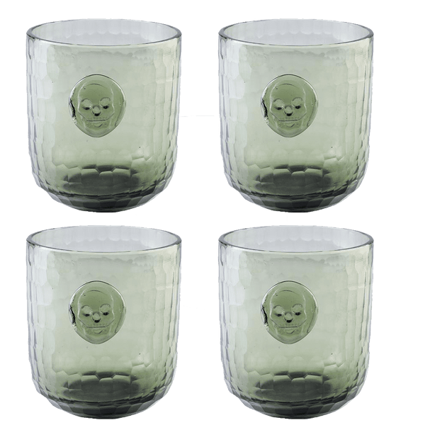 Bonehead Skull Wine Gray Glass - set of 4