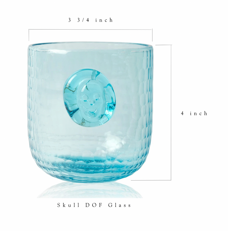Skull Stamp DOF Drinking Glasses - Aqua - Set of 4