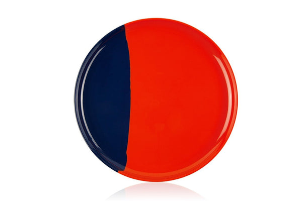 Orange and Navy Dinner Plate - Set of 4