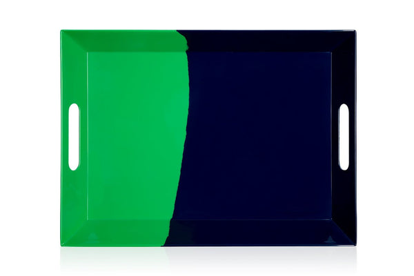 Green / Navy Melamine Tray - Image 1 of 7