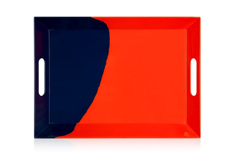 Orange and Navy Serving Tray
