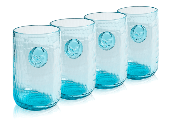 Bonehead Skull Aqua Water Glass