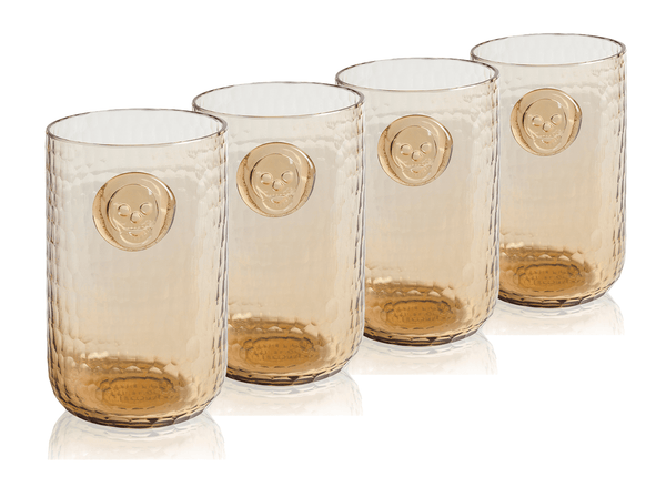 Bonehead Skull Wood Water Glass