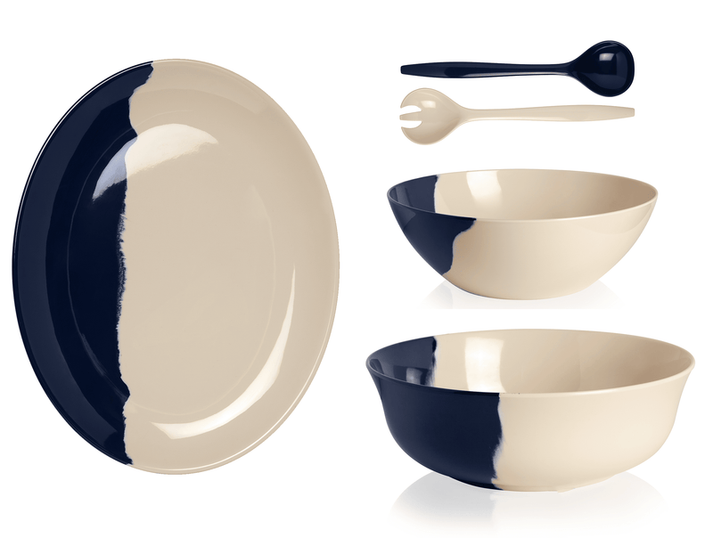 Ivory and Navy Salad Serving Set