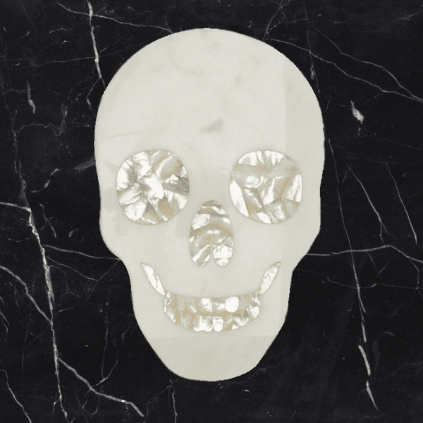 Skull Cheeseboard, White Marble  with Mother of Pearl Inlay