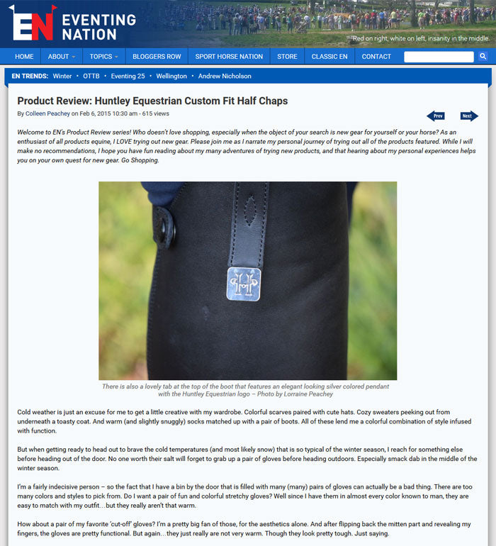 EVENTING NATION - Product Review : Huntley Equestrian Custom Fit Half Chaps