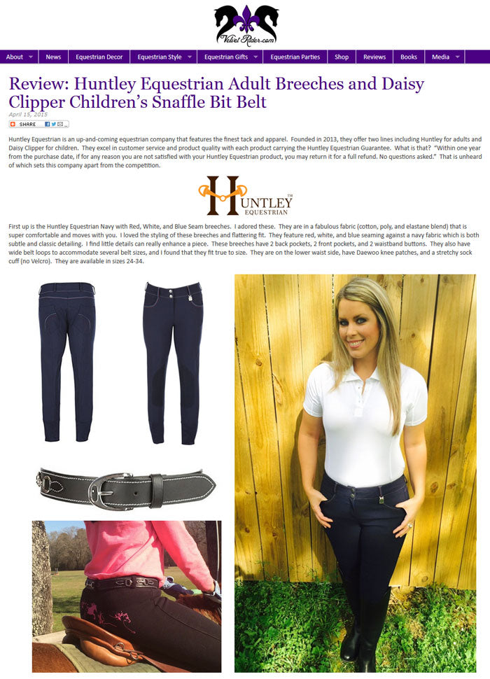 Huntley Equestrian Adult Breeches and Daisy Clipper Children's Snaffle Bit Belt