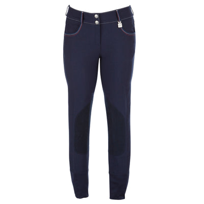 Huntley Equestrian Navy with Red, White, and Blue Seam Riding Pants