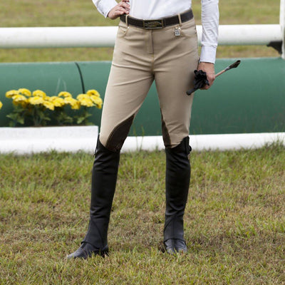 Huntley Equestrian Beige Riding Pant With Back Snap Pockets - Huntley Equestrian
