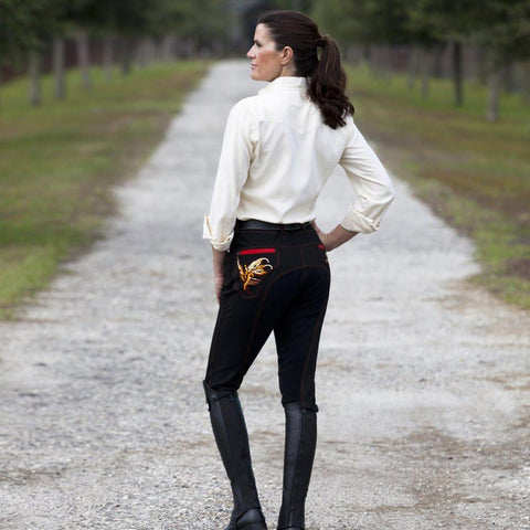 Huntley Equestrian Black Full Seat Riding Pant With Sequined Back pockets - Huntley Equestrian