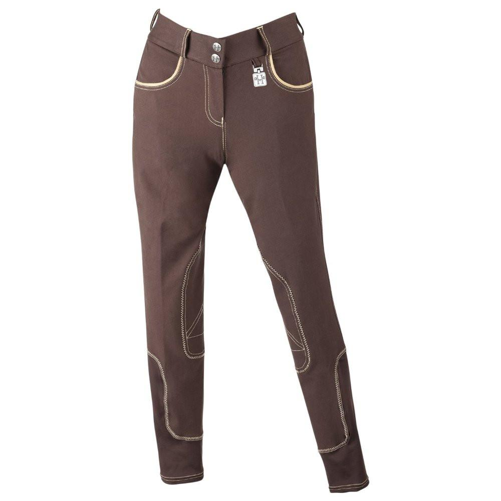 Huntley Equestrian Brown Riding Pant With Tan Welt Pockets SPORTING_GOODS Huntley Equestrian
