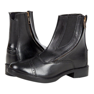 Daisy Clipper Children's Side Zipper Premium Leather Paddock Boots Horse Riding Boots, Black SPORTING_GOODS Huntley Equestrian 12 Black Leather