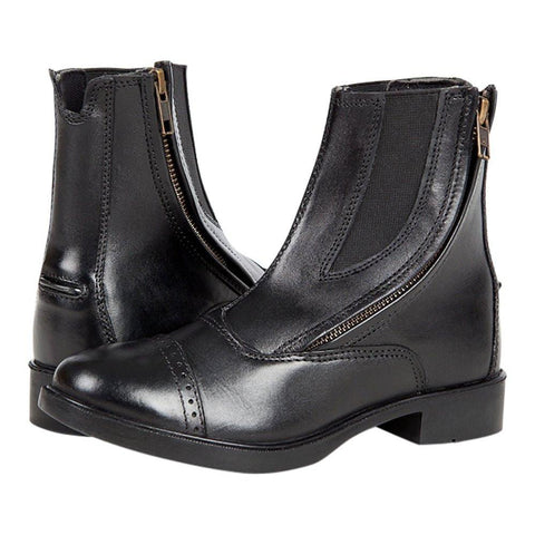 Daisy Clipper Side Zipper Leather Paddock Boots, Black - Huntley Equestrian