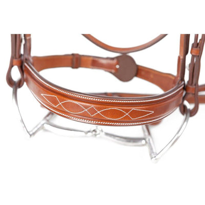 Huntley Equestrian Sedgwick Fancy Stitched Square Raised Hunter Horse Bridle with Reins SPORTING_GOODS Huntley Equestrian