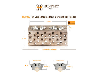 Huntley Pet Elevated Dog and Cat Double Bowl Feeder