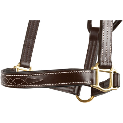 Huntley Equestrian Sedgwick Fancy Stitched Premium Leather Padded Halter - Huntley Equestrian