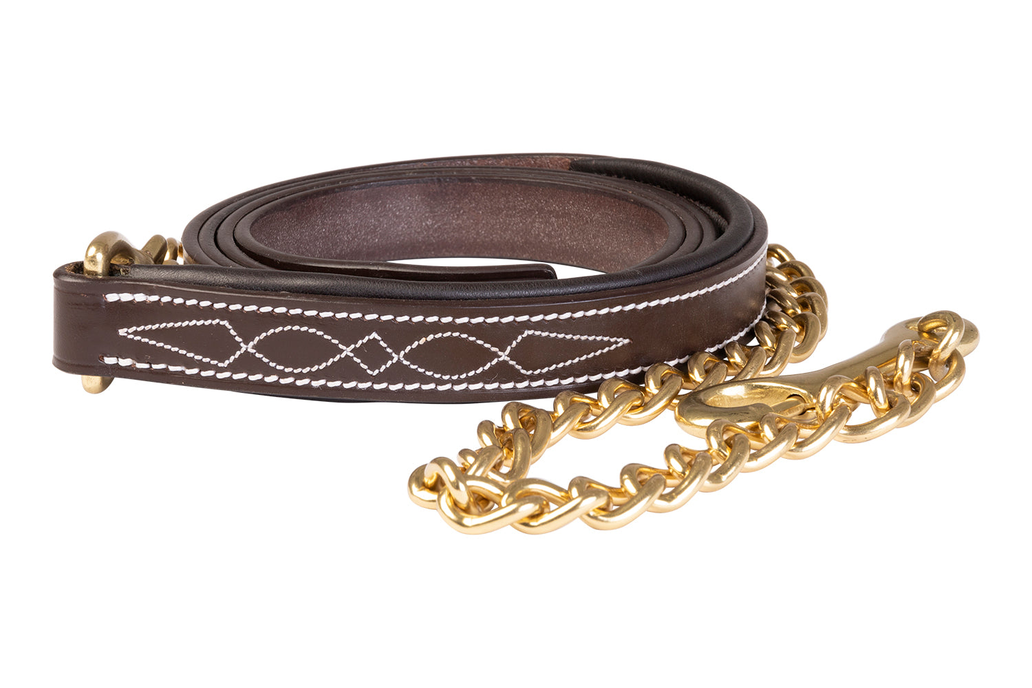 Huntley Equestrian Fancy Stitched Leather Padded Lead with Chain - Huntley Equestrian
